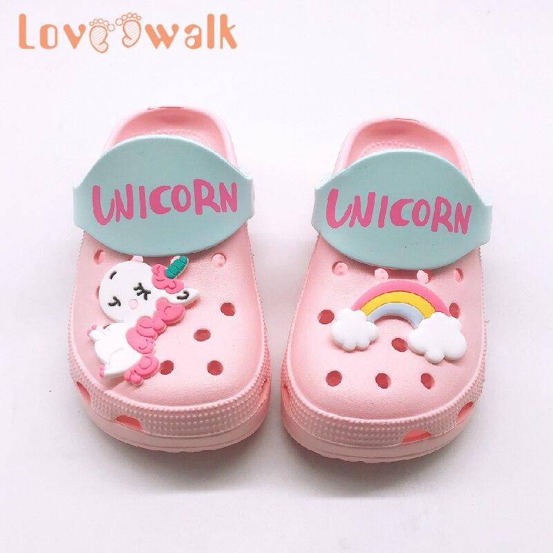 Children Garden Shoes Cartoon Unicorn Rainbow Pattern Croc Summer Slippers For Kids Boys Girls Comfortable Non Slip Beach Shoe