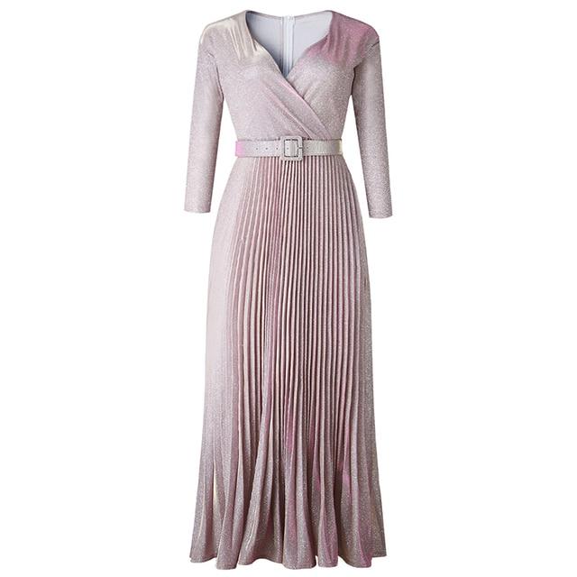 2019 Reflective Long Dress Women Pleated Sexy Deep V Neck Elegant Autumn High Waist Belt Glitter Evening Party Pink Maxi Dresses 5
