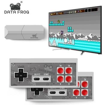 Data Frog TV Video Game Console 8 Bit Built-in 1400 Classic Retro Games Potable Mini Wireless Controller AV/HDMI Output