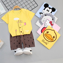 цена на Children's short-sleeved T-shirt cotton boys summer suit baby short-sleeved shorts two-piece children's clothing home service