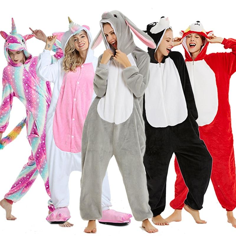 Kigurumi Pajama Unicorn Onesies For Women Men Winter Flannel Sleepwear Animal Uniocnrio Costumes Adults Kigurumi Nightie Pyjamas
