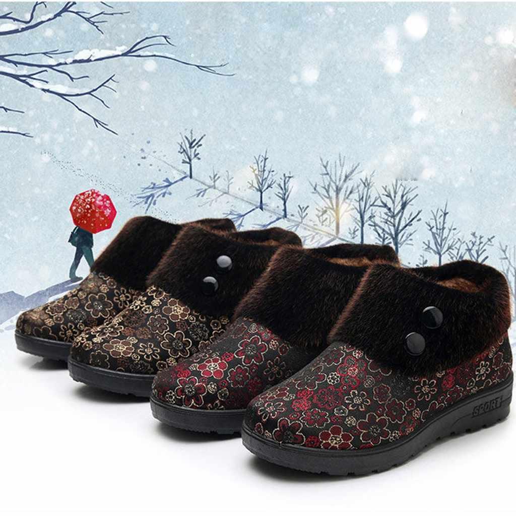 Floral Print Schnee Stiefel Frauen Warm Non-Slip Schuhe Frau Runde Zehe Slip-auf Winter Stiefel Frauen Herbst in Ankle Stiefel Bota feminina