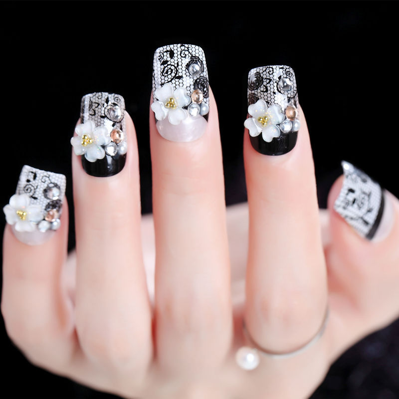 Fake Nails Finished Product Black And White With Pattern Glue-Square Head Nail Tip Studio Photo Art Photo Shoot Gum-Manicure AL1