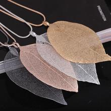 цена на 2019 New Fashion Handmade Bohemian 4 Color Hollow Leaf Shape Pendant Necklace Simple Vintage Necklace Jewelry For Women Gift