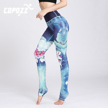 COPOZZ Gym Women Fitness Yoga Pants Slim High waist Sport Leggings Elastic Pattern Printed Long Tights for Running Tummy Control(China)