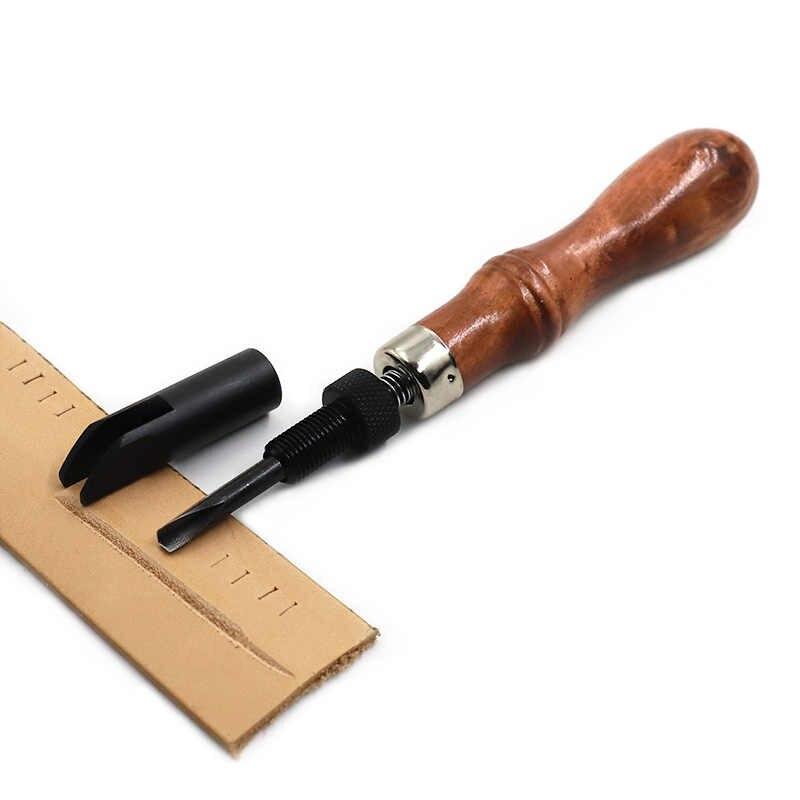 หนังทำด้วยมือ DIY เครื่องมือหนังปรับความลึก Pusher trencher อเมริกัน V-รูป trencher