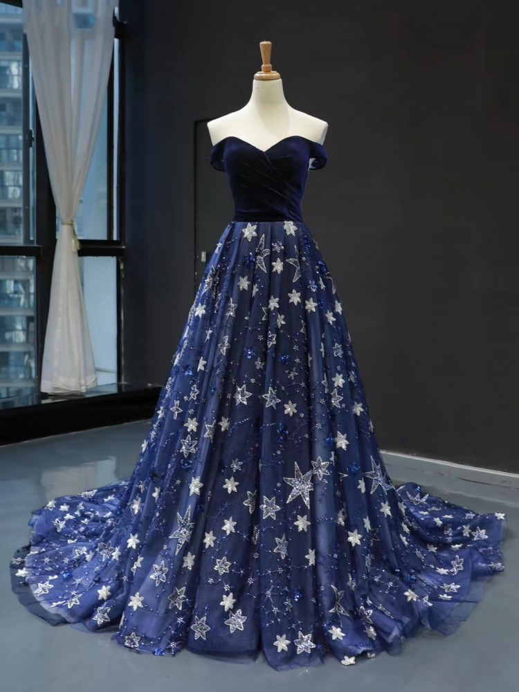 DD JYOY Elegant Off Shoulder Evening Dress Long A Line Blingbling Star Pattern Lace Long Prom Party Gown Long Train Lace Up Back