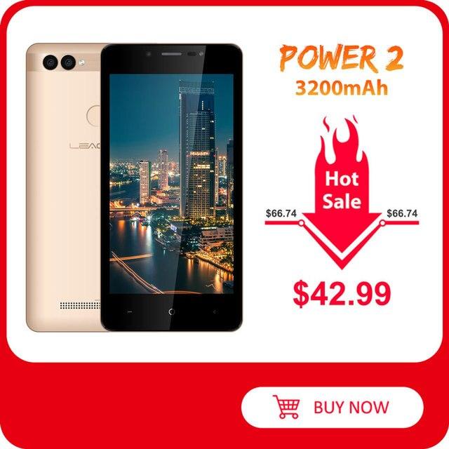 "LEAGOO POWER 2 Face ID Fingerprint Smartphone 2GB+16GB Dual Camera 3200mAh Android 8.1 MT6580A Quad Core 5.0"" HD Mobile Phone"