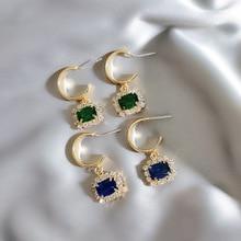 2019 simple personality metal geometry fine crystal fashion temperament sparkling Drop earrings Jewelry new joker