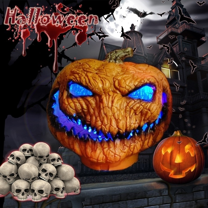 New Hot Scary Orange Pumpkin Lamp Halloween Decoration With LED Lights Fairy String Light Battery Operated Holiday Decoration