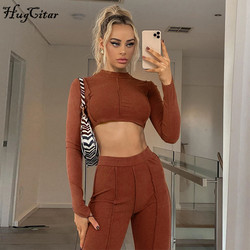 Hugcitar2020 long sleeve backless bandage sexy crop top leggings 2 pieces set autumn winter women fashion streetwear outfits