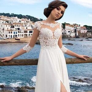 Image 5 - Beach Chiffon Wedding Dress Lace Appliques Simple Dress A line Slit Side Vestido De Novia Playa Bridal Gown vestidos de novia