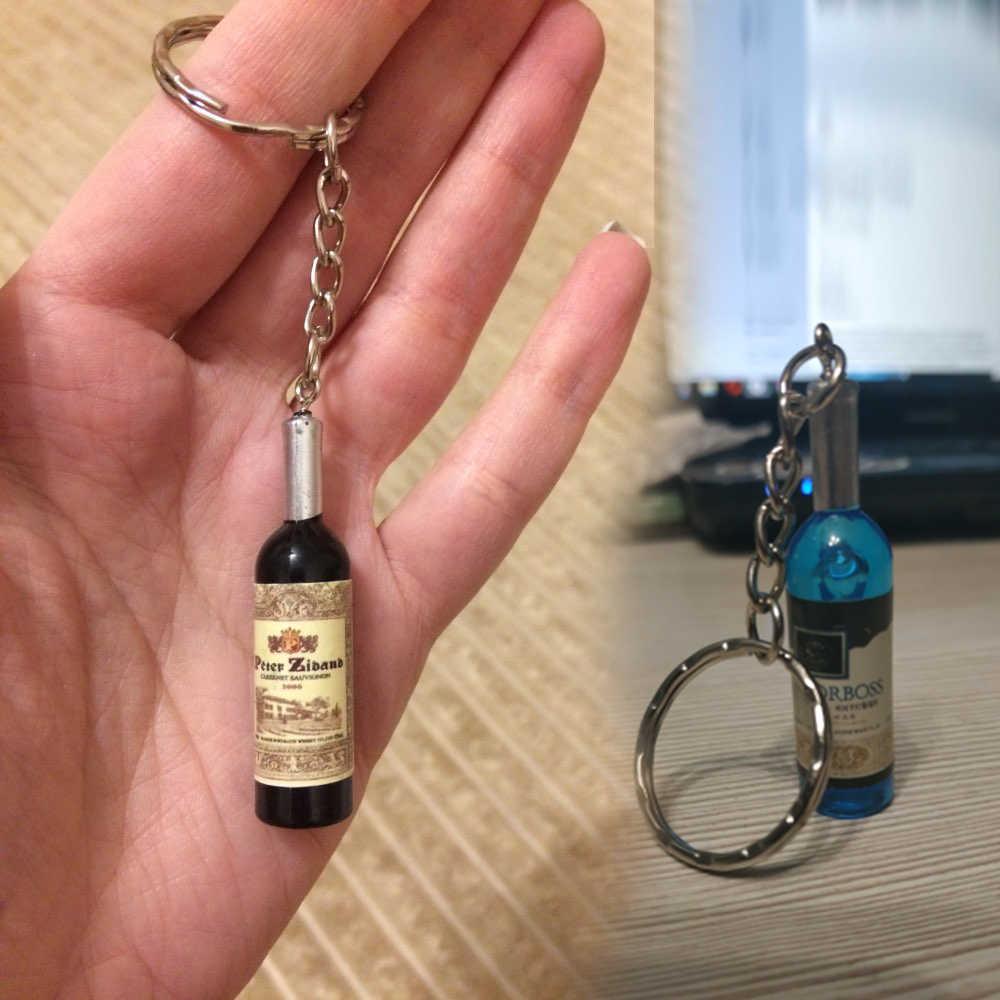Hapiship 2017 ใหม่ผู้หญิง/ชายแฟชั่นทำด้วยมือเรซิ่นขวดไวน์ Key Chains แหวนโลหะผสม Charms ของขวัญ YSCN33 ขายส่ง