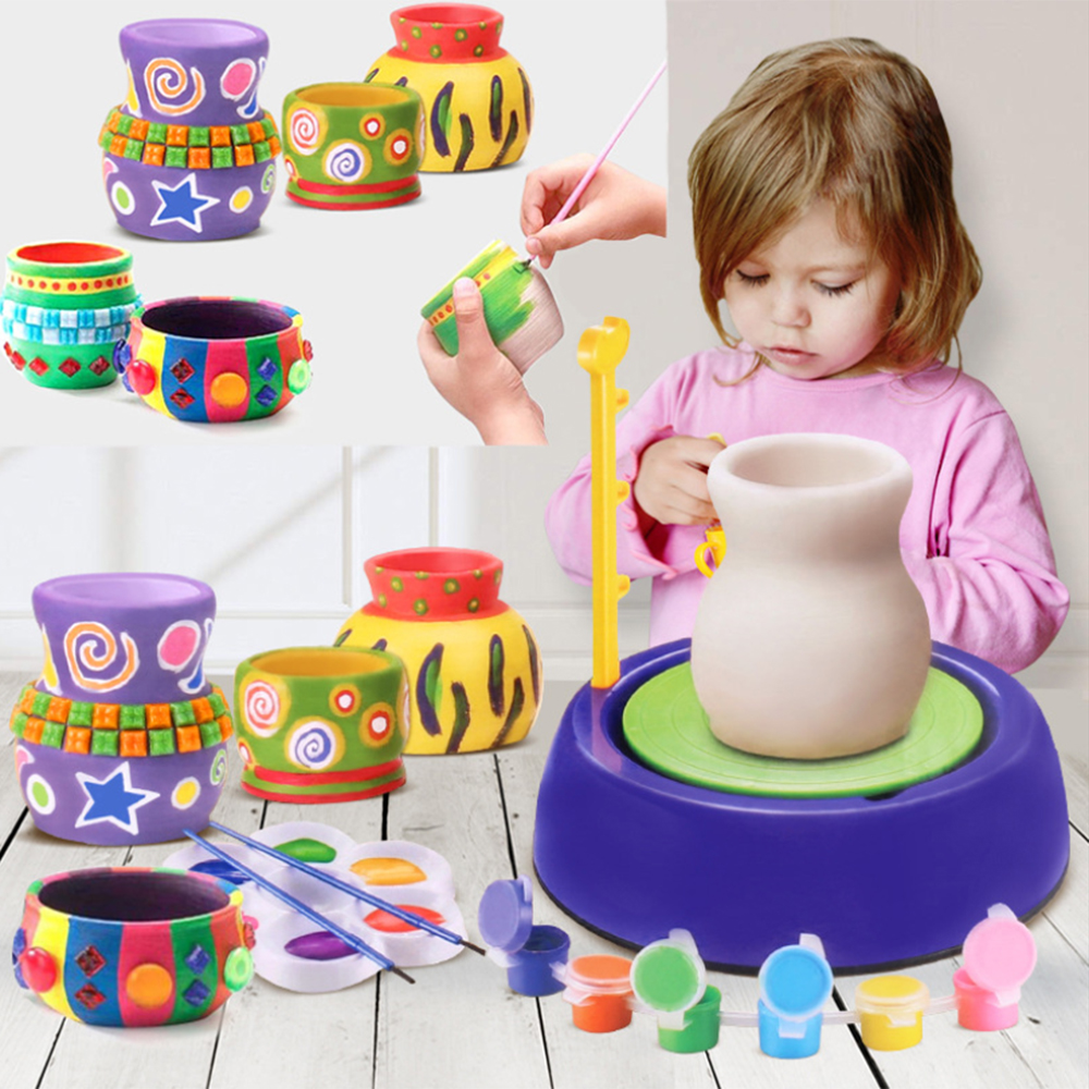 New Hot Child Pottery Wheel Pottery Studio Craft Kit Artist Studio Ceramic Machine With Clay Educational Toy For Kids Beginners