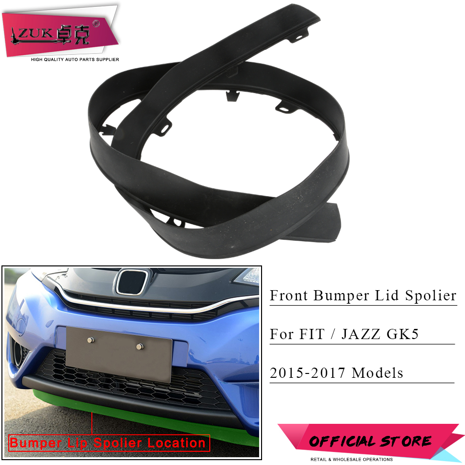 ZUK Car Styling Front Bumper Lid Spoiler Replacement For <font><b>HONDA</b></font> <font><b>FIT</b></font> JAZZ GK5 <font><b>2015</b></font> <font><b>2016</b></font> 2017 Black Color OE# 71110-T5R-A00 image