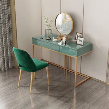 Upscale Dresser Table Mirror With Chair Vanity Makeup Stool Drawers Modern Tocador Mesa Assembly Bedroom Europe - discount item  19% OFF Home Furniture