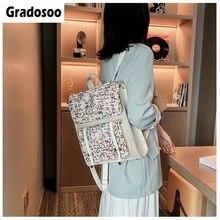Gradosoo Wool Backpack Women Beaded Bagpack PU Leather Schoolbag Female Casual School Bags Travel LBF658
