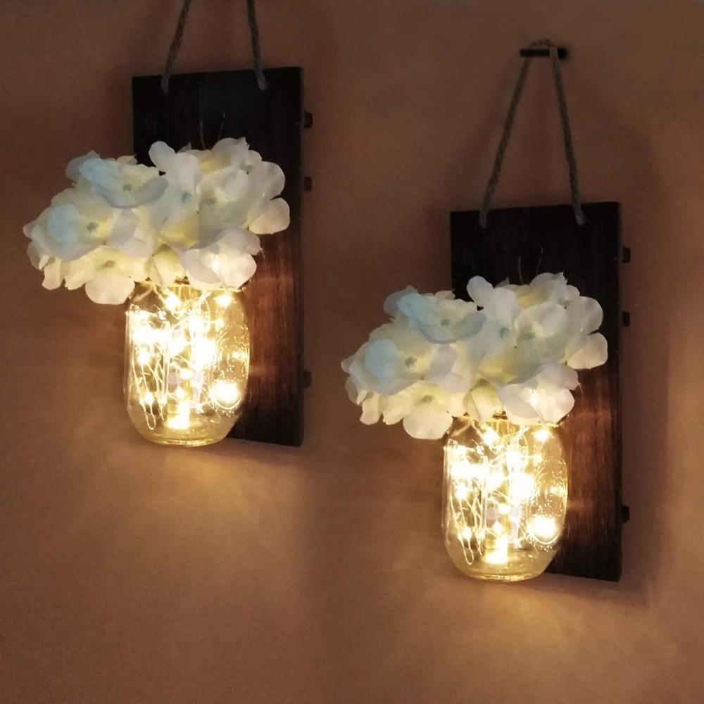 2Pcs Rustic Wall Sconces Vintage Wooden Home Decor Wrought Iron Hooks Silk-Hydrangea LED Strip Lights Design For Home Decoration