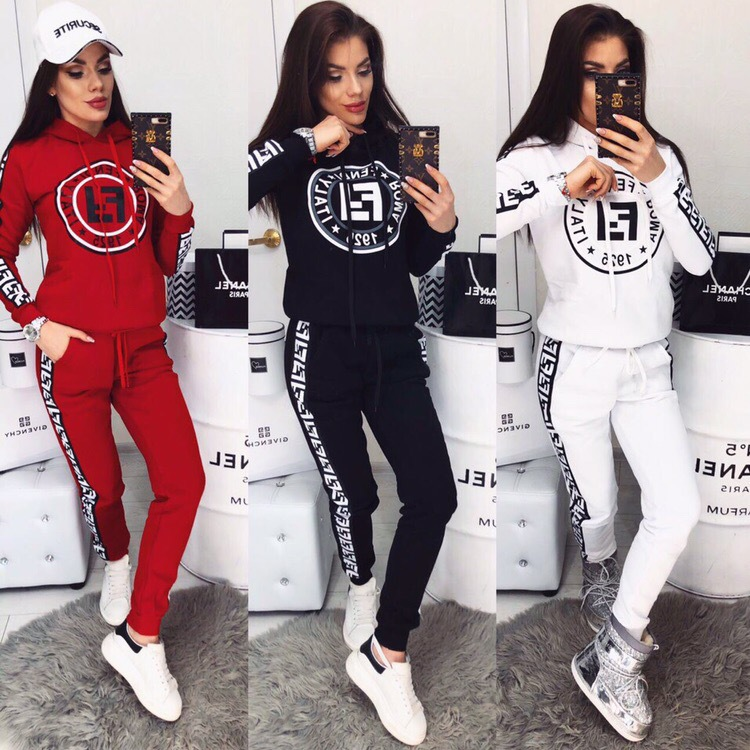Plus Size Slim Hoodie 2 Two-piece Set For Woman Casual Outfit Printed Letters Suits Sweatshirts + Long Pant Sets Tracksuit