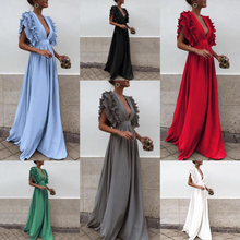Spring and summer new style European and American women's clothing Flying sleeves V-neck halter solid color dress цена и фото