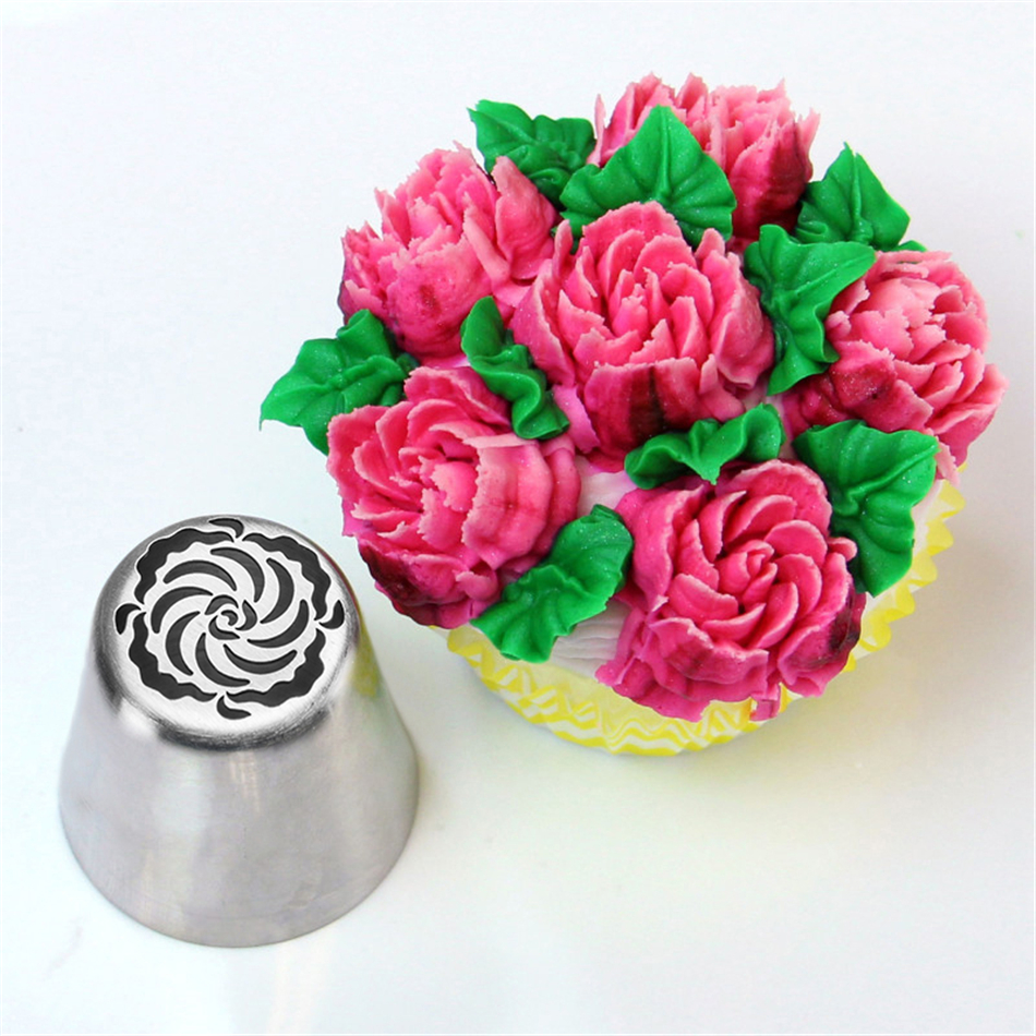 4YANG DIY Cake Decorating Nozzles Stainless Steel Icing Piping Nozzle Pastry Tips Tulip Flower Cookie Chocolate Mold Baking Tool