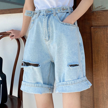Street Wear High Waist Wide Leg Denim Shorts Women With Hole New Jean Shorts Women Summer Korean Style Women Bermuda Shorts Women's Bottoms