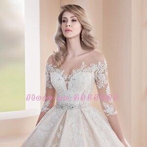 Image 3 - 2020 prinzessin Hochzeit Kleider Vestidos De Casamento Drei Viertel Sleeve Button Up Zurück Perlen Kristall Appliques Spitze Kleider