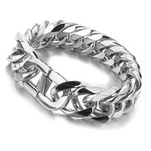 Granny Chic Miami Cuban Link Mens Bracelet in Silver Tone Stainless Steel Heavy Armband Male Jewelry 16-21 mm 8-10 inch