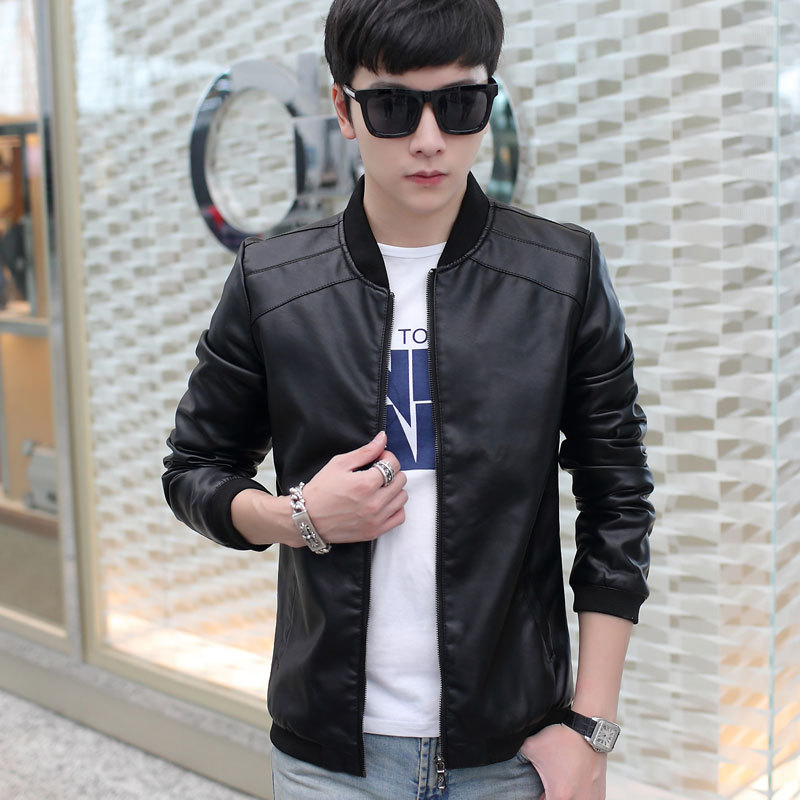 2018 Spring And Autumn Men Baseball Collar PU Leather Coat Korean-style Youth Leather Jacket Men Slim Fit Casual Coat Men's