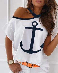 Summer New Casual Tshirts Tee Tops Summer Wear Short Sleeve T-shirt Cold Shoulder Boat Anchor Print Casual T-shi