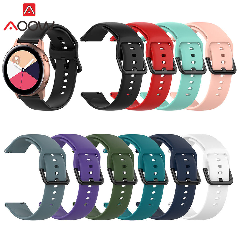 20mm Soft Silicone Watchband For Samsung Galaxy Watch Active2 42mm Gear S2 Active Sport Waterproof Women Men Bracelet Band Strap