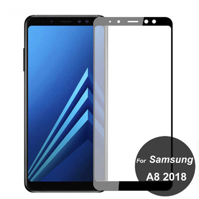 200D フル保護ガラスサムスンギャラクシー A6 A8 J4 J6 プラス A7 A9 J2 J7 J8 2018 強化ガラス画面保護フィルムケース