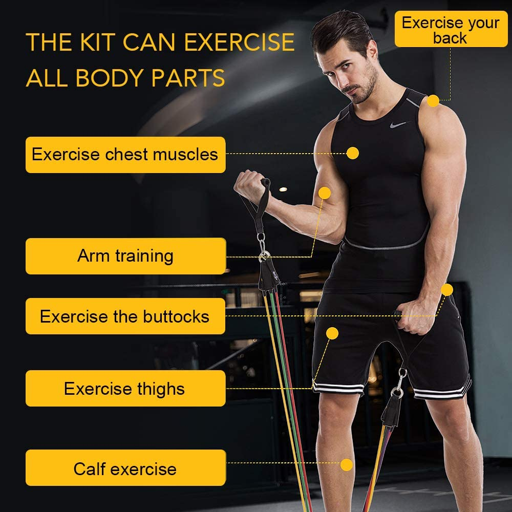 11PCS/ 13PCS Fitness Resistance Bands Workout Exercise Yoga Set Fitness Tube Yoga Stretch Training Home Gyms Elastic Pull Rope 2