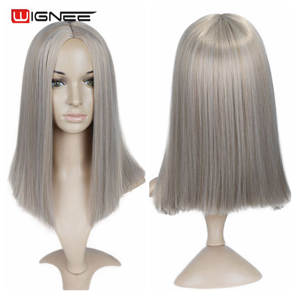 Hf5a2891723d04a21bd7b185fb6fd7108d - Wignee 2 Tone Ombre Brown Ash Blonde Synthetic Wig for Women Middle Part Short Straight Hair High Temperature Cosplay Hair Wigs