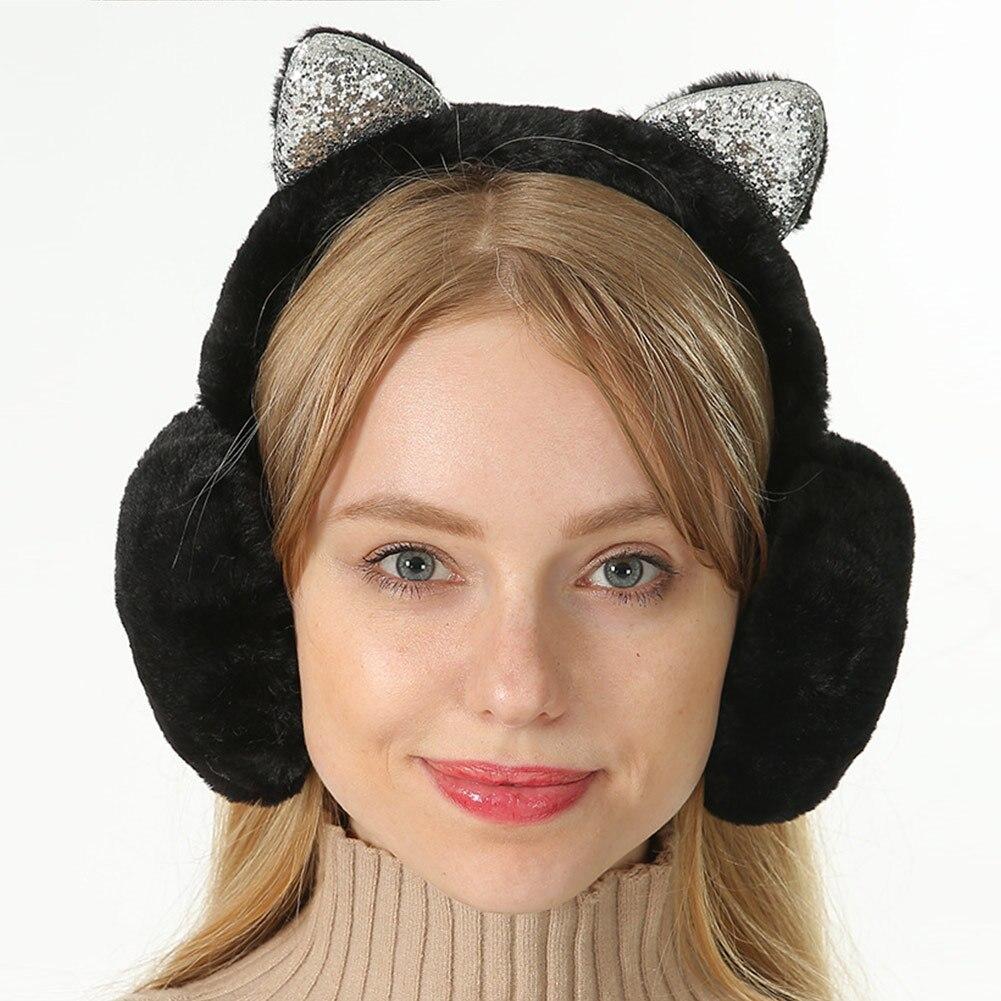 Women Earmuffs Cartoon Cat Ears Windproof Ears Warm Adjustable Earmuffs H9