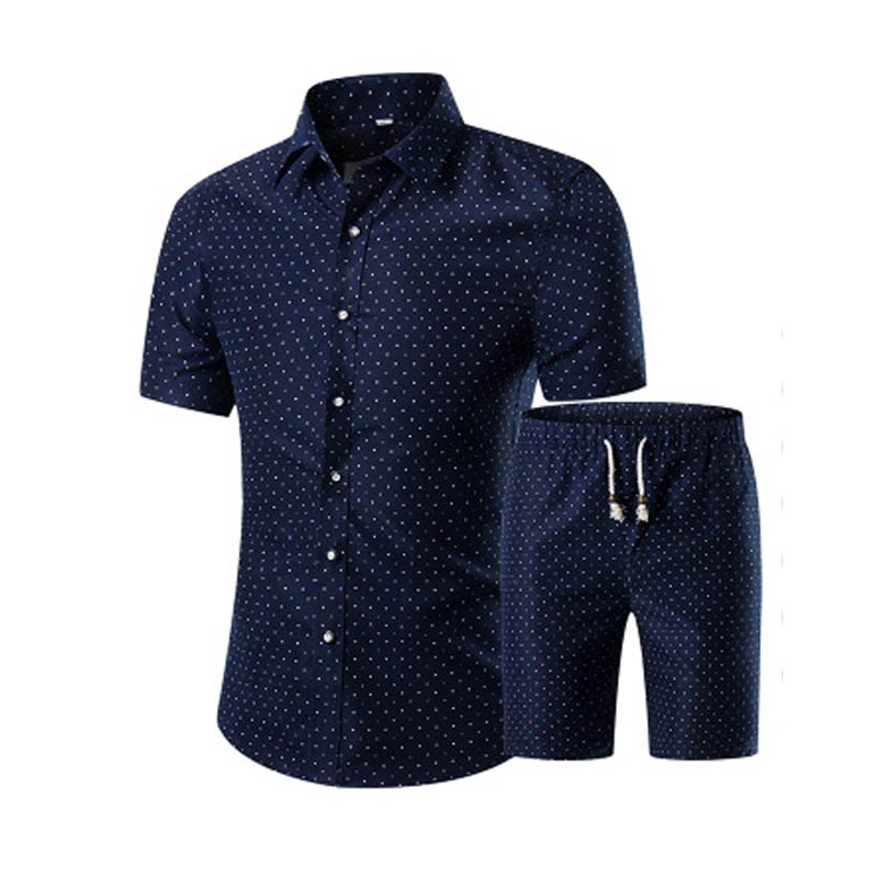 Summer Men Printed T-shirt + Shorts Decorative Pattern Two Piece Sets Plus Size  FO Sale