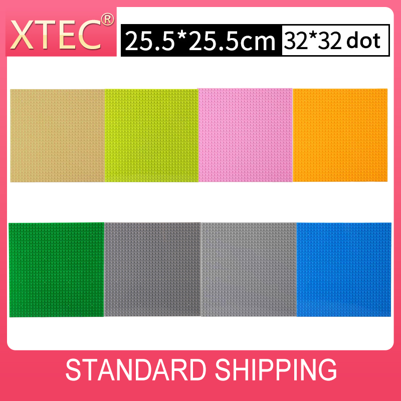 32x32 Dots Legoes Base Plates For All Brand DIY MOC Building Blocks Bricks 8 Colors Dark French Grey Green Baseplates 25*25 CM