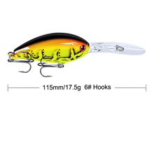 New YUZI 1PC Crank 6 colors Fishing Lure 17.5g-0.62oz/11.5cm-4.53 Plastic Hard Bass Bait Saltwater 3D Eyes Wobblers