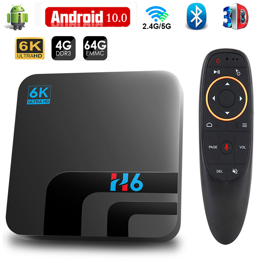 Android TV Box Android 10 4GB 32GB 64GB 6K 3D Video H.265 reproductor de medios 2,4G 5GHz Wifi Bluetooth Set top box Dispositivo de TV inteligente
