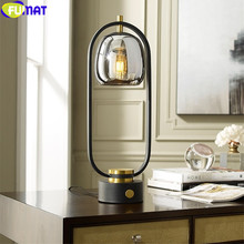 FUMAT Nordic Style Table Lamp Designer Glass Ins Creativity Desk Light Lighting Iron Frame Lantern plating Glass Lampshade E27(China)