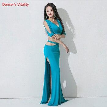 Belly Dance Female Adult Elegant Modal Top Practice Clothes Suit Oriental Dancewear high waist Shirt Long Skirt performance Set 2