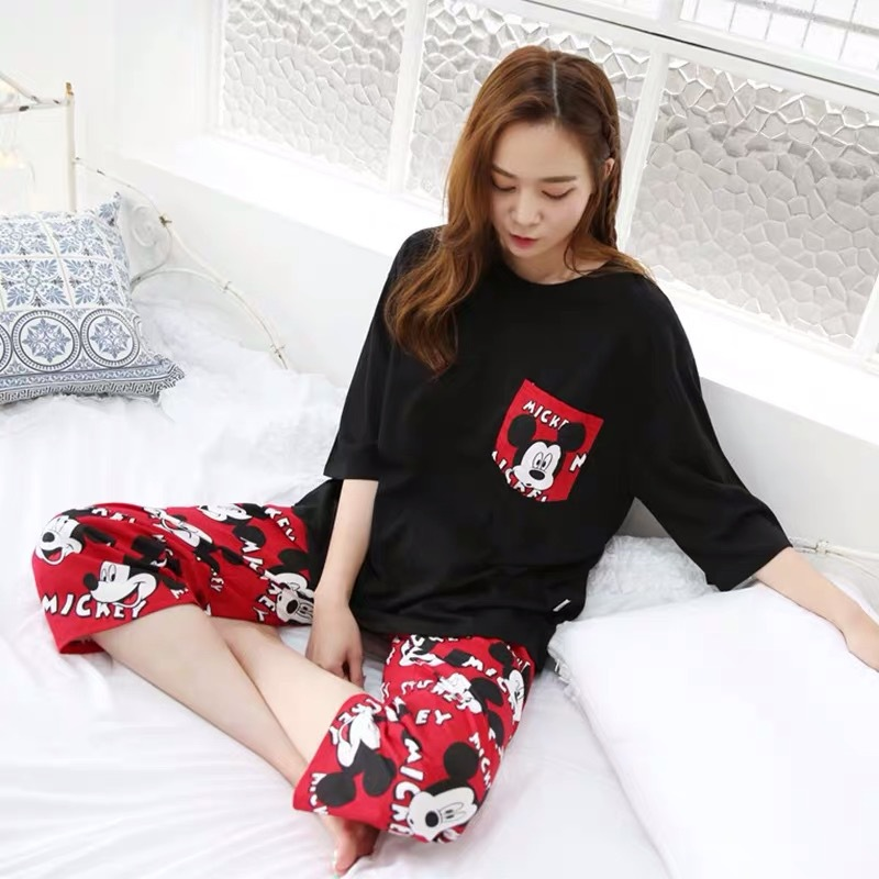 2020 Summer Short-sleeved Cute Cartoon Women Pajamas Loose-Fit Sweet Princess Short Sleeve Shorts Tracksuit Leisure Suit