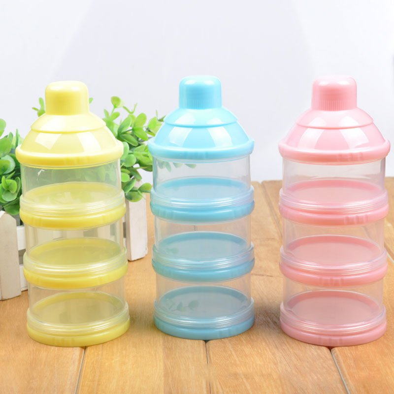 New Infant Baby Portable Feeding Milk Powder Children Kids Travel Removable Three-Layer Container Bottle Storage Solid Milk Box