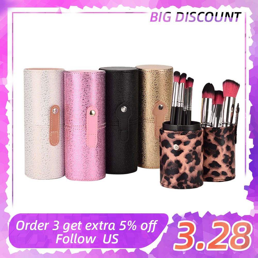 Makeup Brushes Holder Fashion Organizer Case Brush PU Leather Pen Holder Storage Cosmetic Bag Make Up Tools