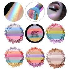 5 farben Weichen Mineral Gesicht Make-Up-Palette Regenbogen Kosmetische Lidschatten Highlighter Pulver Palette Gesicht Kontur Make-Up Pulver