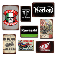 Motorized Garage Decorative Metal Plates Vintage Motorcycle Poster Tin Sign Rustic Home Living Room Wall Decor Plaques