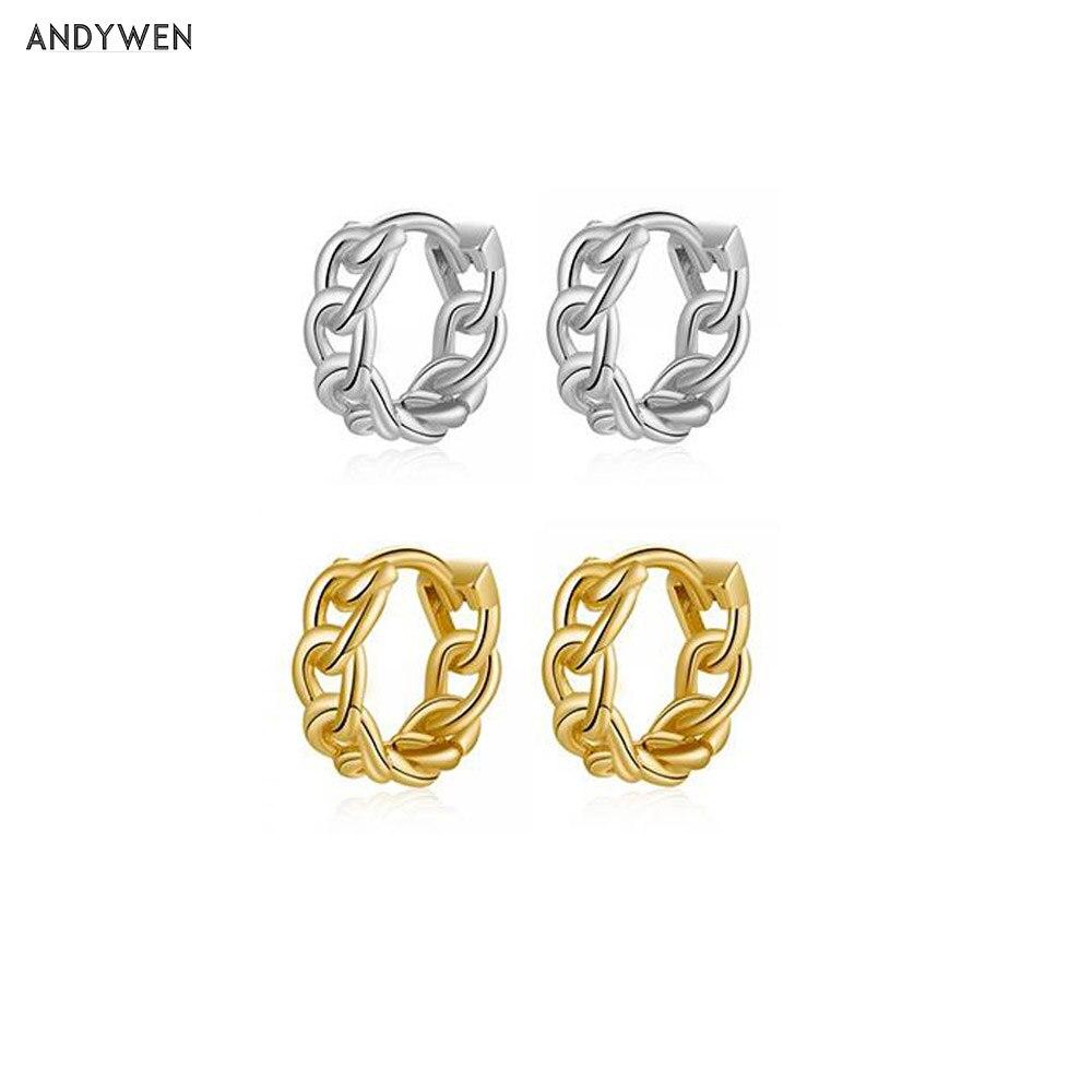 ANDYWEN 925 Sterling Silver 9mm Screw Huggies Locker Hoops Rock Punk Loops Circle Round Open Women Luxury Crystal Jewelry