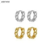 ANDYWEN – Huggies de luxe en argent Sterling 925 pour femmes, cerceaux à vis de 9mm, Rock Punk, boucles rondes ouvertes, bijoux en cristal