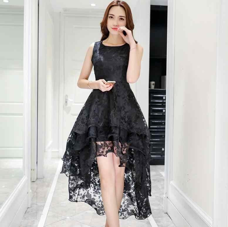 ZOGAA 2019 קיץ גבוהה נמוך שמלות ללא שרוולים אלגנטי Slim קדמי קצר חזרה ארוך נפוחה המפלגה שמלה לבן נשים טול שמלה
