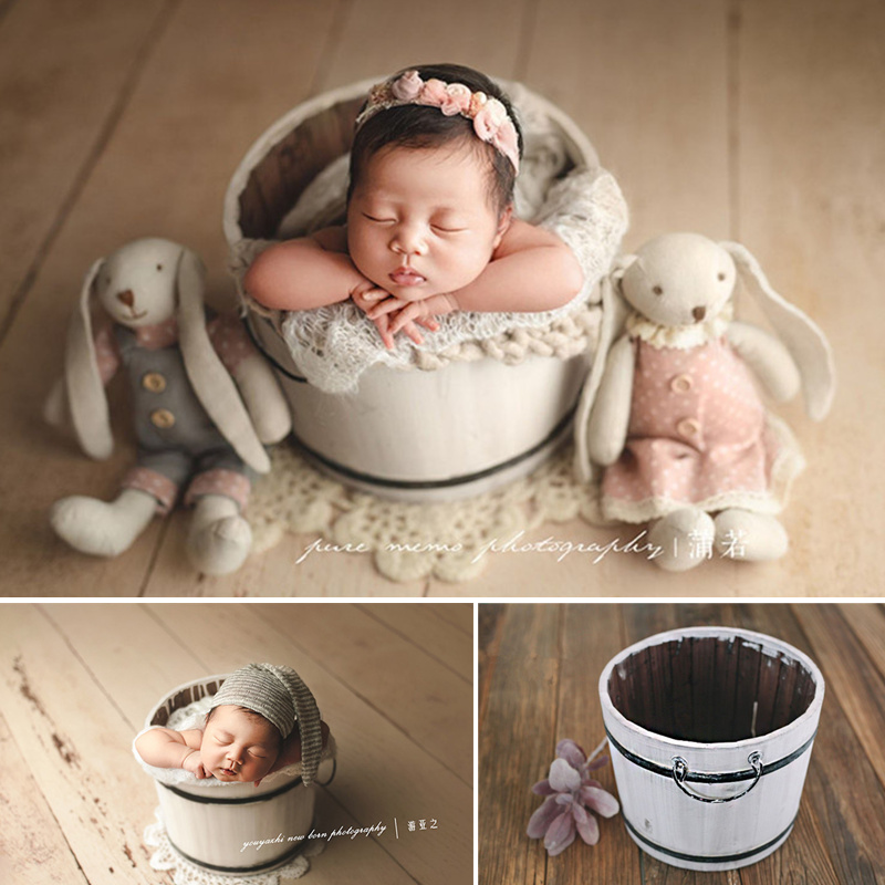 Newborn Baby Photo Props White Vintage Solid Wood Bucket Container Box Accessory Baby Photo Shoot Posing Basket Baby Prop Chair